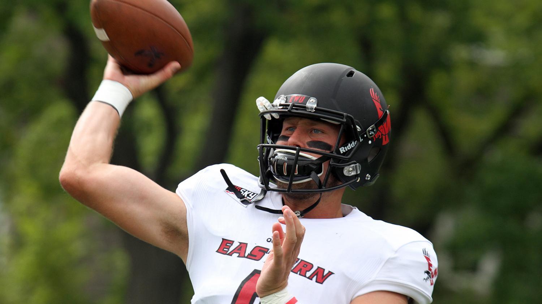 Junior quarterback Gage Gubrud warms up pregame. Credit to Jon Lambert (via EWU Sports Information Department).