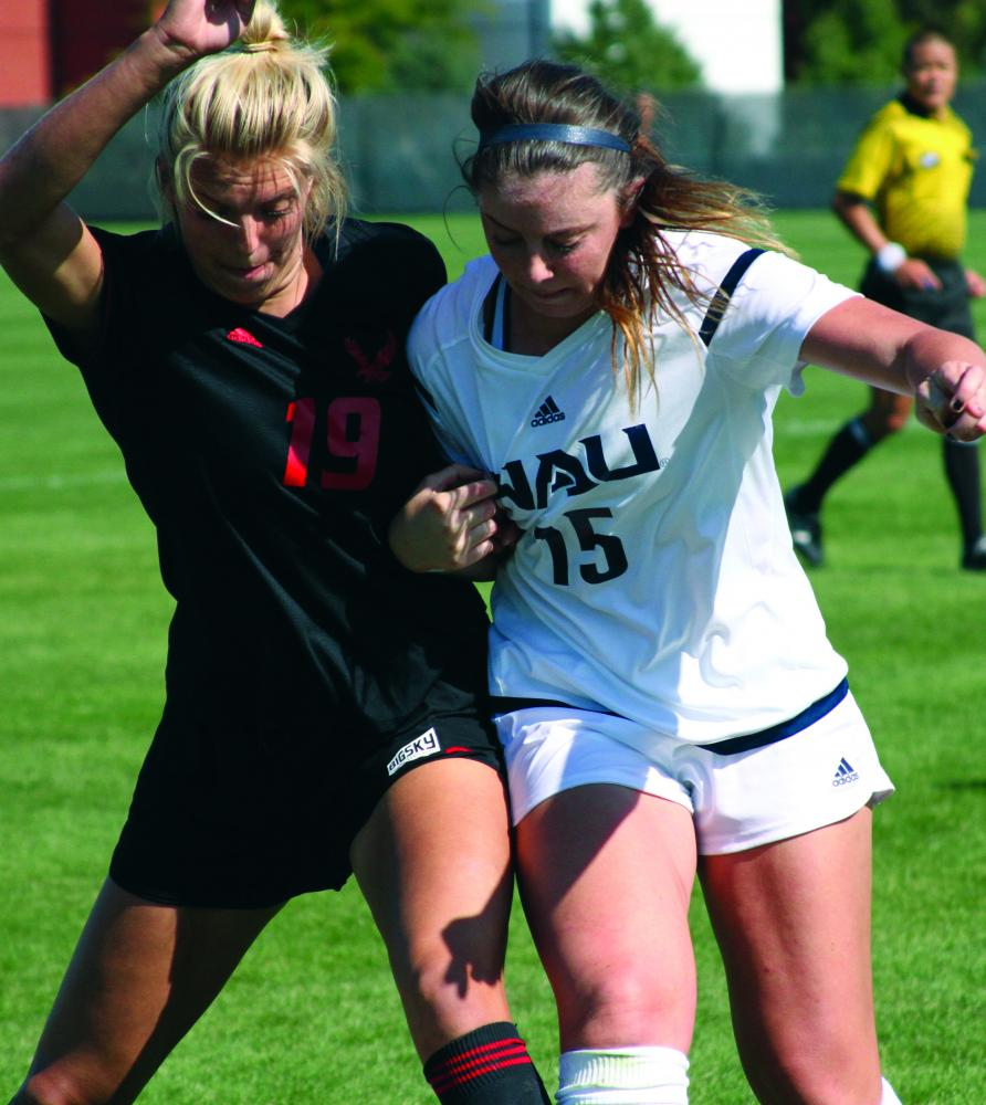 Senior forward Savannah Hoekstra fights for the ball during EWU's win over NAU on Sept. 24