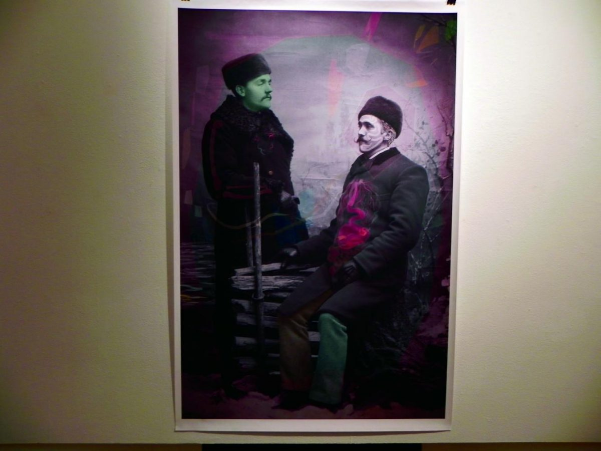 An example of a digitally hand-colored photograph by Garric Simonsen hangs at the EWU Gallery of Art.   Sam Jackson for The Easterner