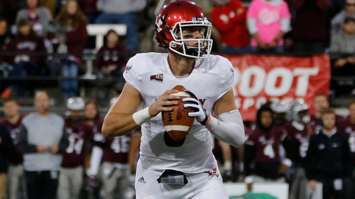 Junior quarterback Gage Gubrud scans the field in 2017. Credit to EWU Football and EWU Athletics.