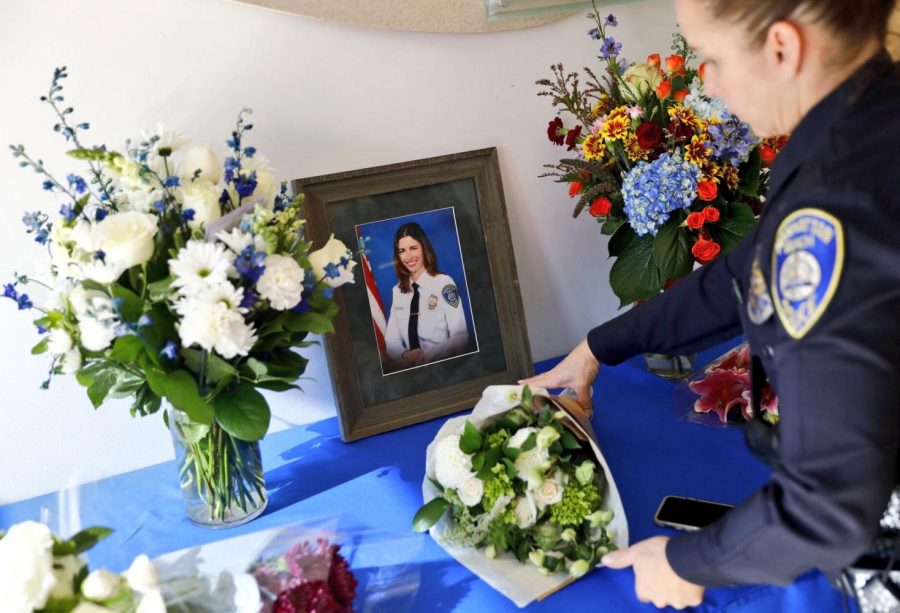 The Manhattan Beach Police Department displays a memorial for Rachael Parker, a Cheney High School graduate, was one of 58 people killed at a concert in Las Vegas two weeks ago | Photo courtesy Patrick T. Fallon for the LA Times