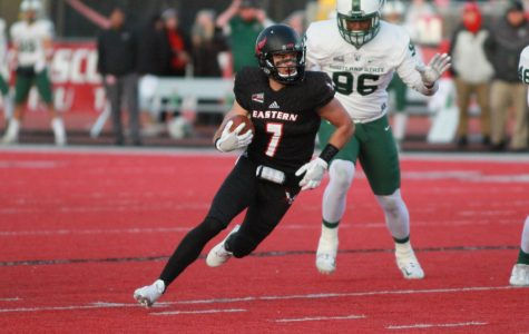 Senior wide receiver Nic Sblendorio running after the catch on Nov. 18 against Portland State. Sblendorio had a career best 273 yards and 2 touchdowns on eight catches in the victory. | Richard Clark IV for The Easterner