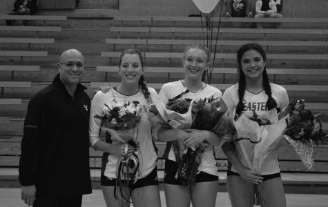 (Left to right) Head coach Michael King poses with seniors Megan LaFond, Ashley Seiler and Chloe Weber on Senior Night. The trio went out with a victory over the University of Northern Colorado on Nov. 3 | Mckenzie Ford for The Easterner