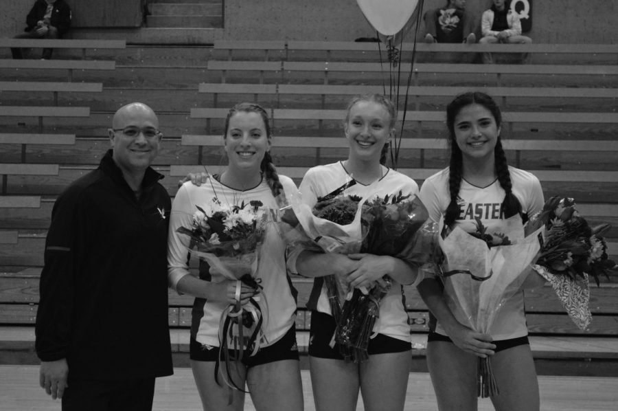 %28Left+to+right%29+Head+coach+Michael+King+poses+with+seniors+Megan+LaFond%2C+Ashley+Seiler+and+Chloe+Weber+on+Senior+Night.+The+trio+went+out+with+a+victory+over+the+University+of+Northern+Colorado+on+Nov.+3+%7C+Mckenzie+Ford+for+The+Easterner