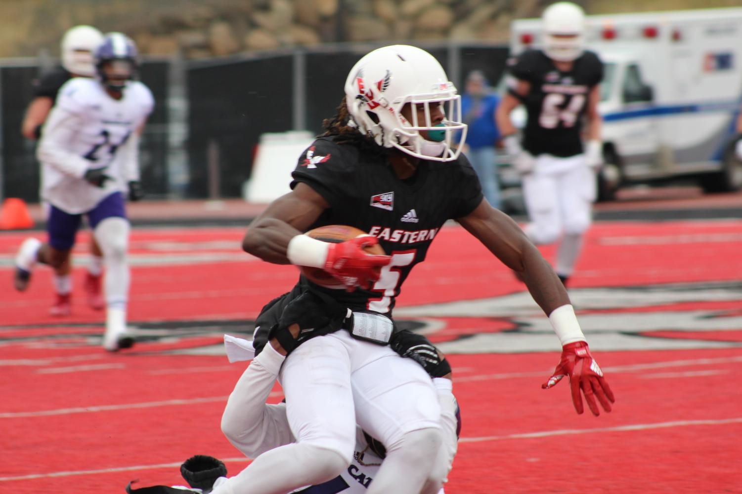 Junior wide receiver Nsimba Webster. He had seven receptions for 94 yards and a touchdown in Saturday's loss | Richard Clark IV for The Easterner.