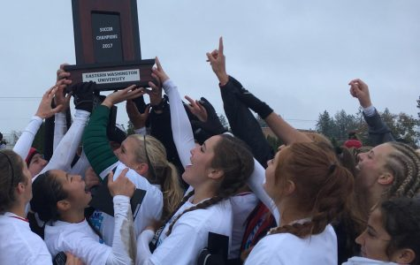 EWU women's soccer celebrates their Big Sky Conference tournament title on Sunday, Nov. 5. Jeremy Burnham for The Easterner.