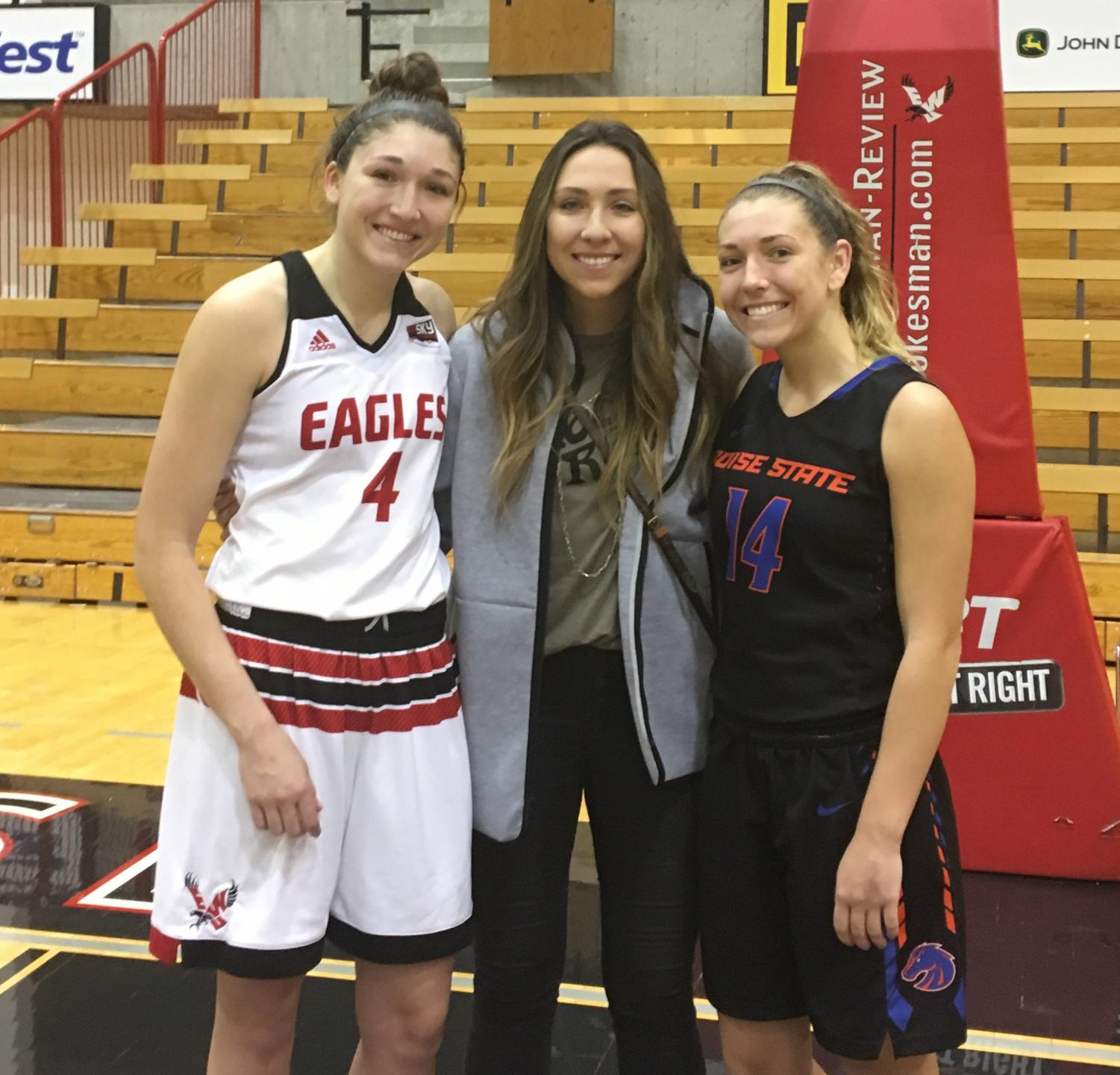 (left to right) Delaney, Hayley and Braydey Hodgins after EWU's loss to Boise State on Dec. 3. Braydey is a sophomore guard for Boise State, Hayley is EWU's all-time leading scorer and Delaney is No. 3 on the program's scoring list. | Jeremy Burnham for The Easterner