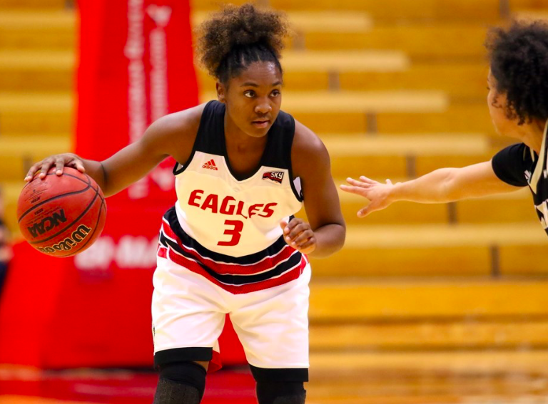 Sophomore guard Symone Starks sizes up the Cal Poly defense on Dec. 11. Starks had 10 points and 6 assists as the Eagles improved to 4-5 on the season. | Photo courtesy of Rod Swords