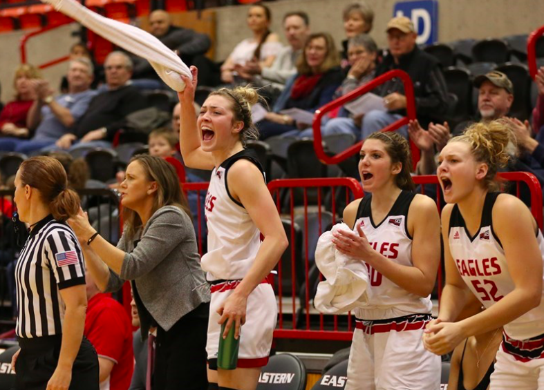 The EWU bench reacts during the teams 74-70 victory over North Dakota. The Eagles are now 6-8 on the season, and 4-3 at Reese Court. | Photo courtesy of Aaron Malmoe