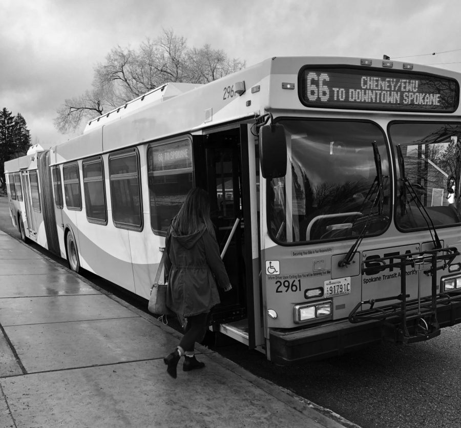 Students board the STA route 66 which goes to and from EWU to from downtown Spokane. New route changes may affect students who have to make the commute.