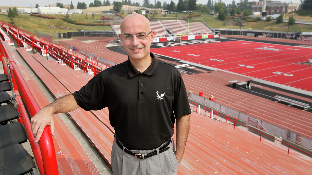 Former EWU Athletic Director Bill Chaves at Roos Field, the first red synthetic field in America. Chaves has signed a four-year deal to lead North Dakota's athletic department.