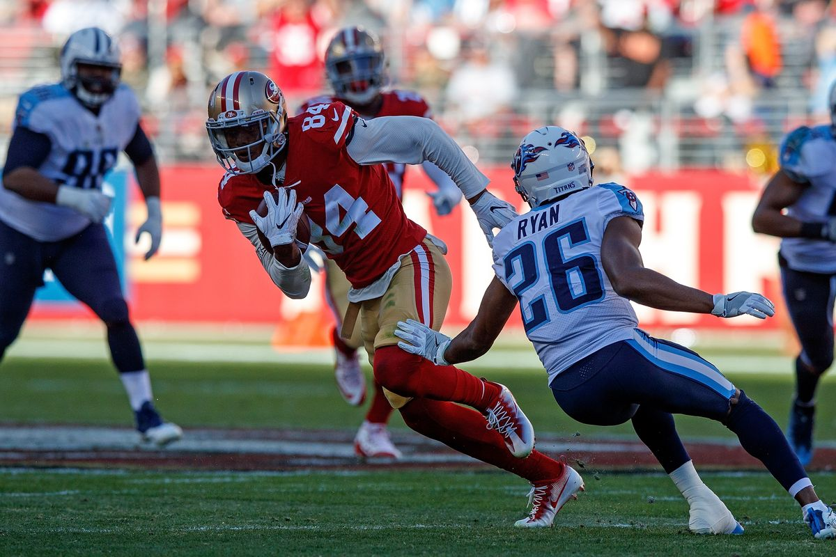 EWU alum and San Fransisco 49ers rookie wide receiver Kendrick Bourne completes a catch against the Tennessee Titans in Week 15 of the NFL season. Bourne finished the game with four receptions and 88 yards. | Photo courtesy of Jason O. Watson/Getty Images
