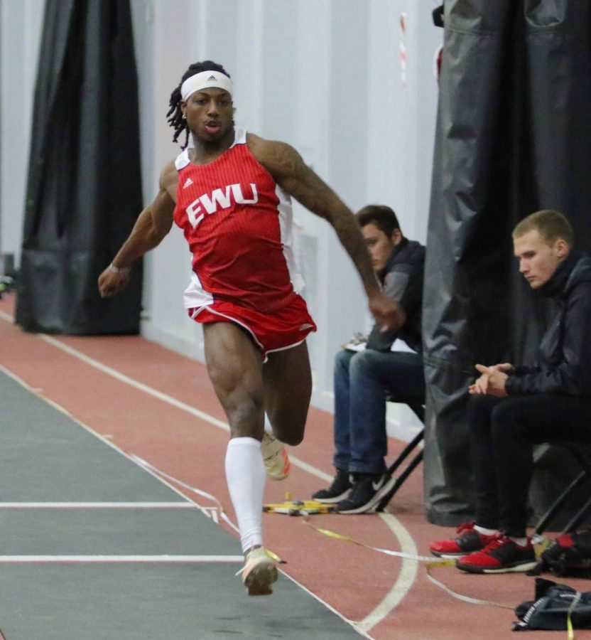 Sophomore Keshun McGee performs a triple jump during a home meet last season. McGee became Big Sky conference leader in the event last week with a jump of 50-8 1/4 | Photo courtesy of EWU Athletics