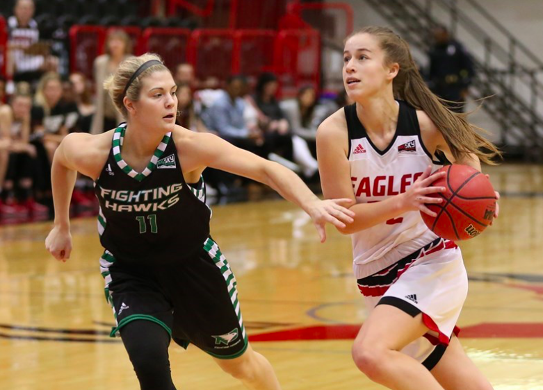 EWU freshman guard Brittany Klaman drives against North Dakota on Dec. 30. Klaman had a career-high 12 points in the team's win over Sac State on January 6. | Photo courtesy of Aaron Malmoe