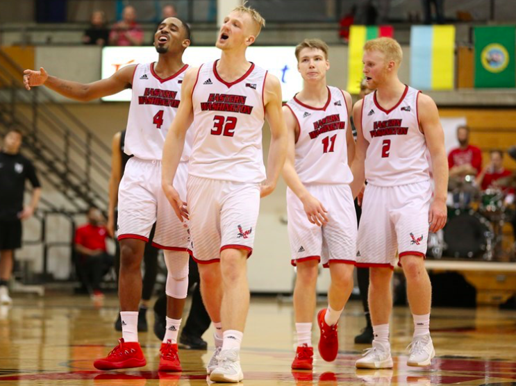 A group of Eagles react during a dead ball in the teams victory over Portland State on Jan. 4. EWU is now 8-9 on the season. | Photo courtesy of Aaron Malmoe.