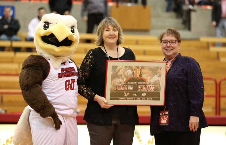 Head coach Wendy Schuller poses during her career acknowledgement at the Eagle's win over Southern Utah on Jan. 20. This was Schuller's 500th game at EWU | Photo courtesy of Aaron Malmoe