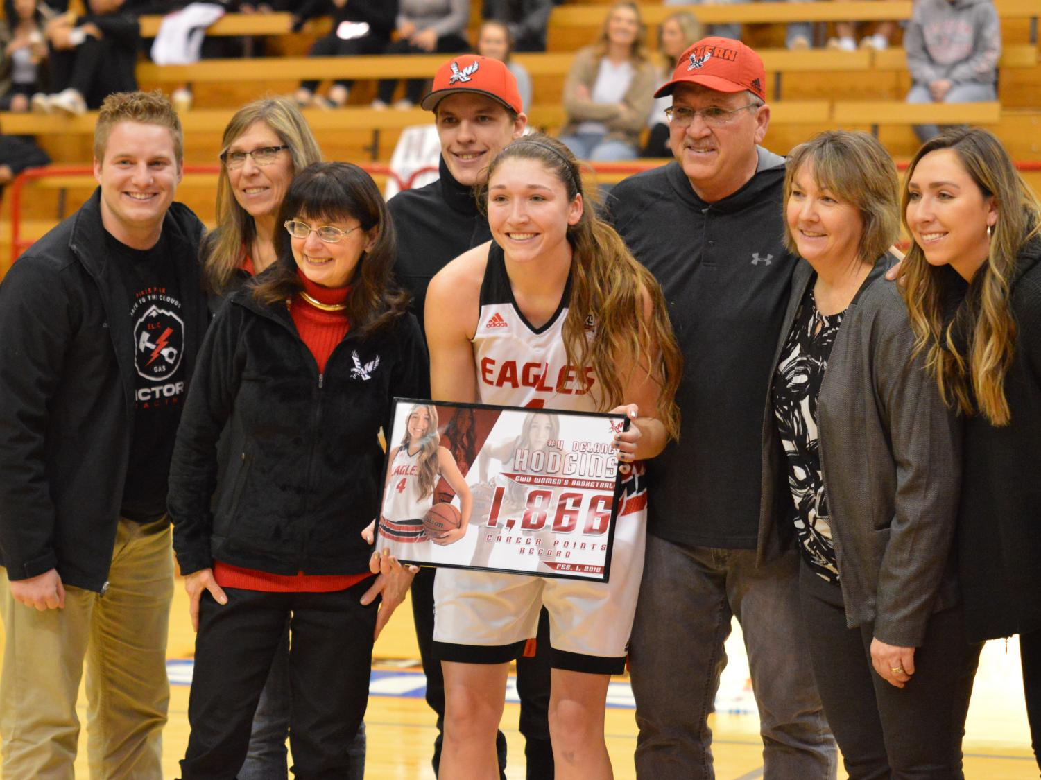 Senior forward Delaney Hodgins holds her record-commemorating plaque during EWU's win over Sacramento State on Feb. 1. Hodgins became the school's all-time leading scorer in the victory. | Bailey Monteith for The Easterner