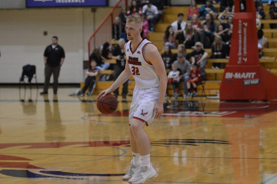 Senior forward Bogdan Bliznyuk against North Dakota on Jan. 25. Bliznyuk had 16 points, 13 rebounds and 3 assists in the loss to Idaho on Feb. 9   Bailey Monteith for The Easterner