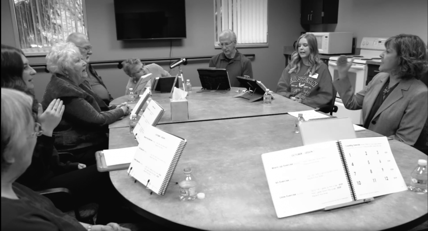 EWU's Hearing And Speech Clinic go through exercises to help patients speak clearly | Photo courtesy of Parkinson's Voice Project