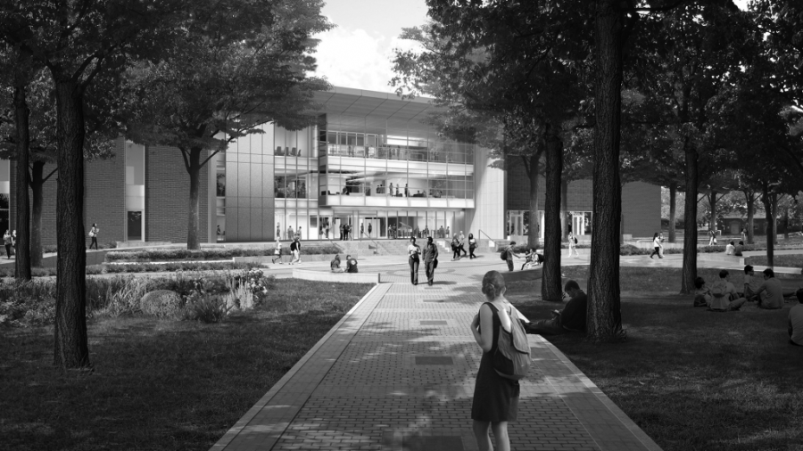 A rendering of the PUB coming from the courtyard. The project will cost an estimated $40 million paid for through student fees | Rendering courtesy of EWU