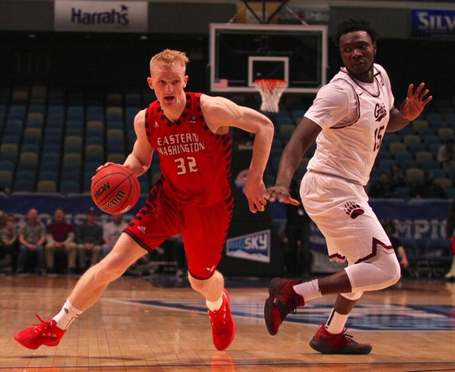 Senior forward Bogdan Bliznyuk drives past a Montana defender in the Big Sky title game on March 10. Bliznyuk became the all-time conference scoring leader a game earlier against Southern Utah   Photo courtesy of Brooks Nuanez, Skyline Sports