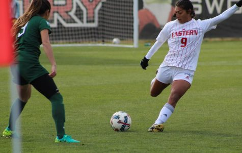 Senior forward Jenny Chavez during a home game in 2017. Chavez is one of the main returners for the Eagles, who lost 10 players to graduation | Mckenzie Ford for The Easterner