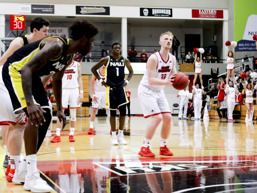 Senior forward Bogdan Bliznyuk shoots a free throw against Northern Arizona on March 3. With this made free throw, Bliznyuk set a new single-season NCAA record with 74-straight made from the charity stripe   Richard Clark IV for The Easterner