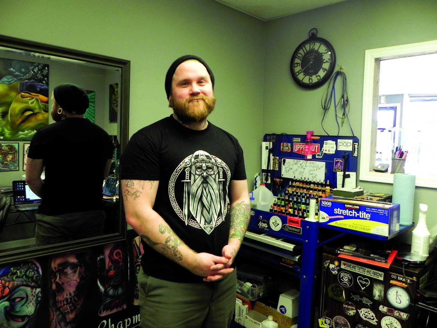 Owner Lazer Larry is originally from Los Angeles, California. Larry has been piercing for over 22 years and branding for the past 11 years. The shop opened six years ago | Sam Jackson for The Easterner