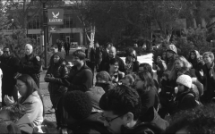 Students gather at the Campus Mall to speak out against racist flyers posted around campus in 2018. The unity Rally was to show that EWU dopes not stand for hate and discrimination | Jeremy Burnham for The Easterner