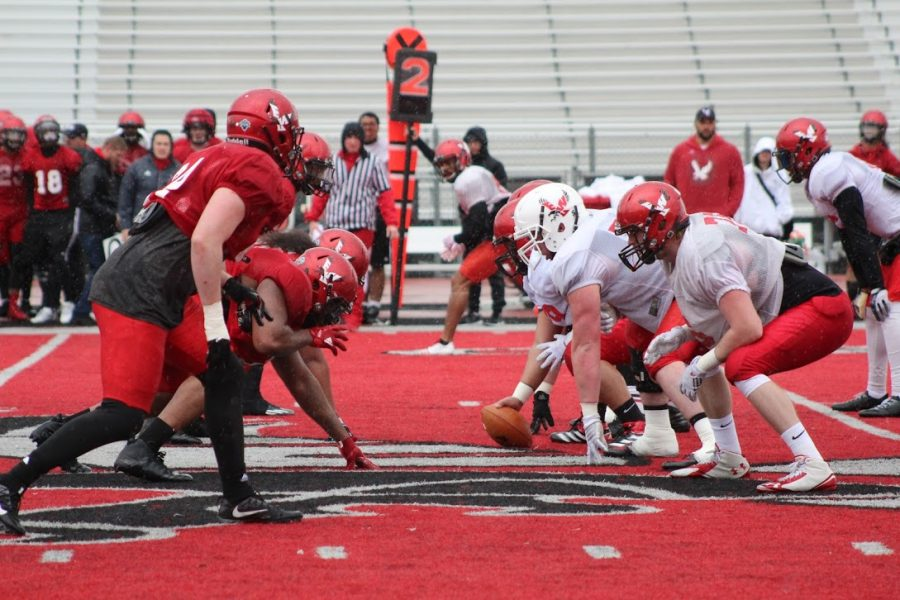 The EWU football team lines up during its first full scrimmage on April 13. The Eagles had 398 total yards of offense, seven pass breakups and two interceptions in the friendly matchup. | Mckenzie Ford for The Easterner
