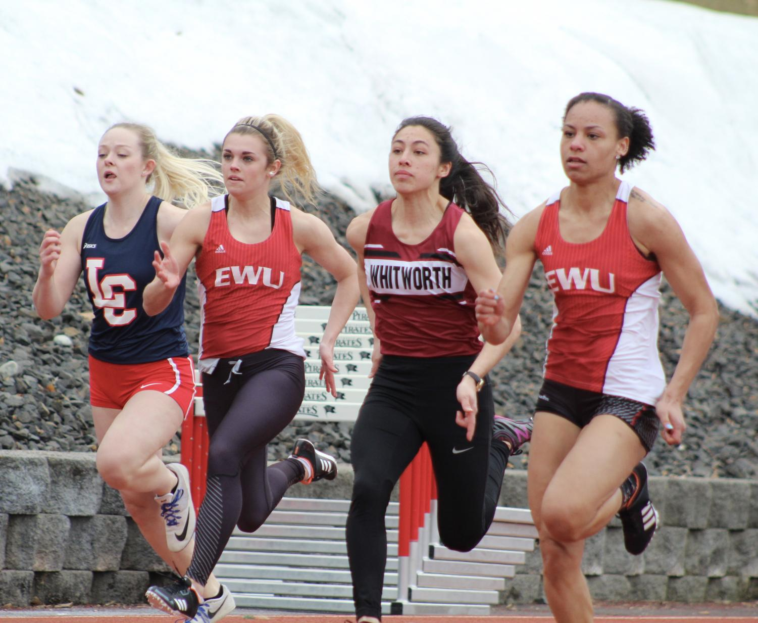 Freshmen sprinters Bella Millsap (left) and Alexis Rolan (right) competing at the Buc Scoring Meet on March 17. At the Texas Relays on March 30, Rolan ran the 100 meters with a time of 11.56 seconds (the second fastest time in school history).