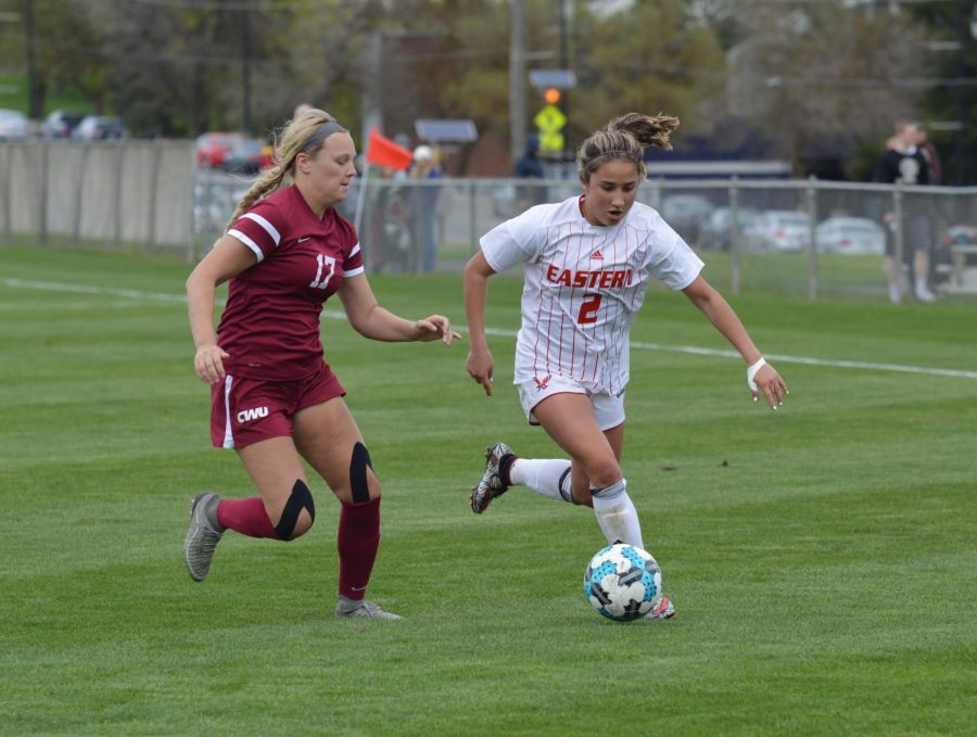 Sophomore forward Sariah Keister pursues the ball in EWU soccer's 4–0 win over Central Washington on April 28. Keister scored the Eagles' second goal of the game. | Bailey Monteith for The Easterner