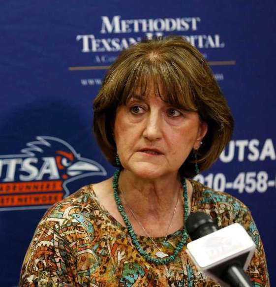 Lynn Hickey during a University of Texas at San Antonio press conference in 2016. Hickey, who left UTSA in 2017, was hired as EWU's new athletic director on April 25 | Photo courtesy of San Antonio Express-News