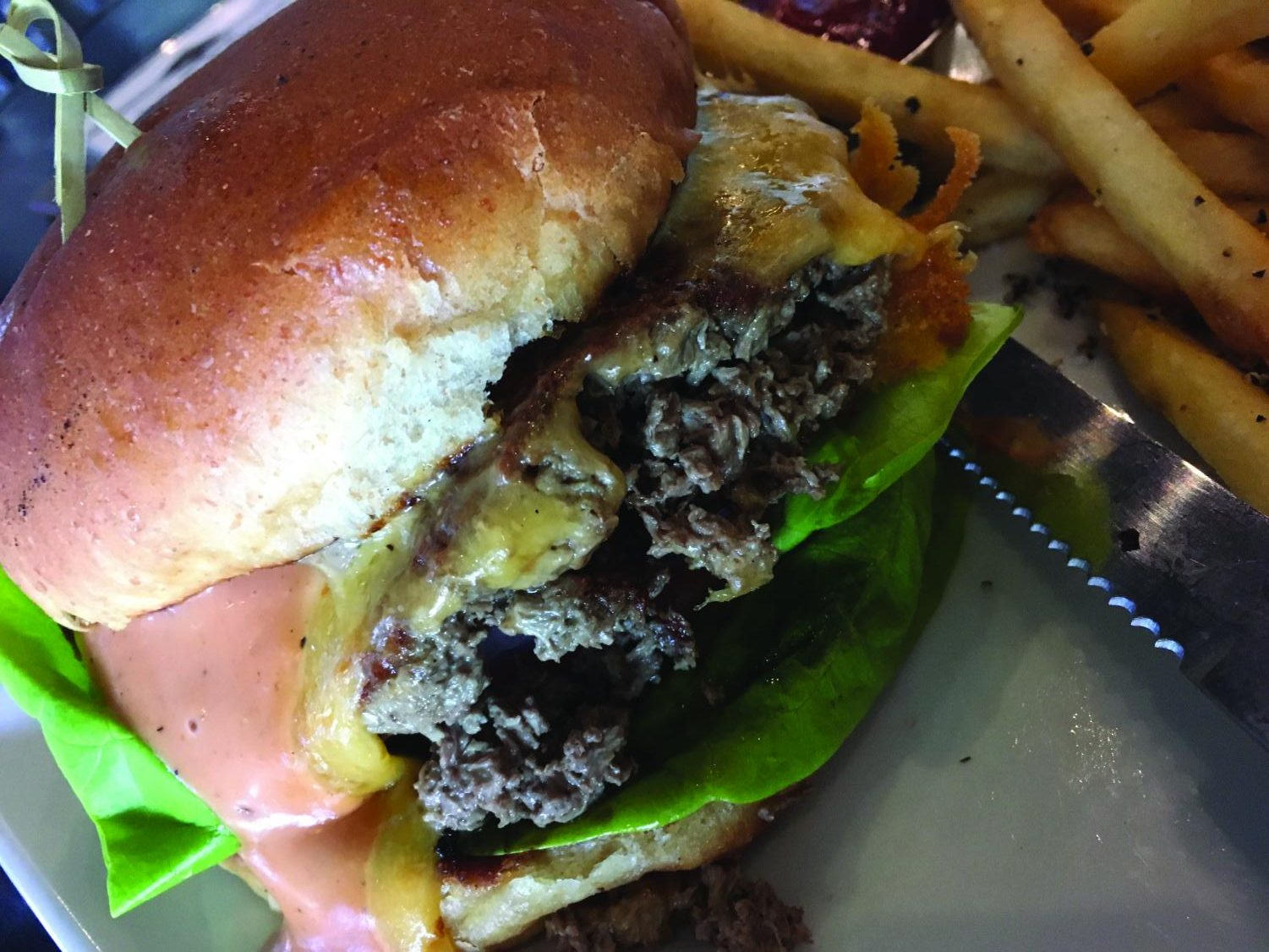 Cascadia Public House offers a vegetarian, meat-like hamburger that contains heme.