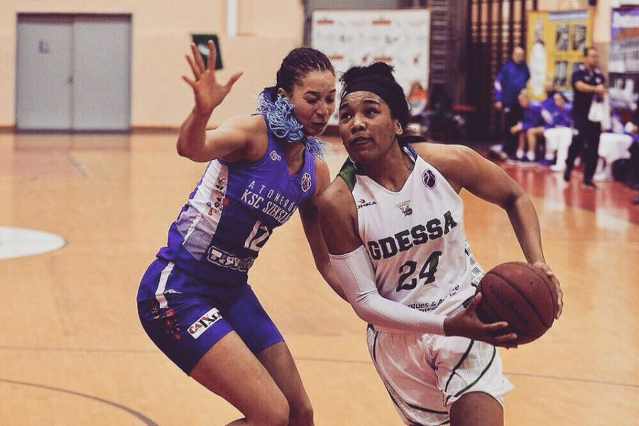 EWU basketball alumna Ashli Payne prepares for the layup against an Atomeromu KSC Szekszard defender while she played for GDESSA of Portugal. Payne is currently  playing professionally in Australia after spending the winter playing in Portugal.   Photo courtesy of Ashli Payne