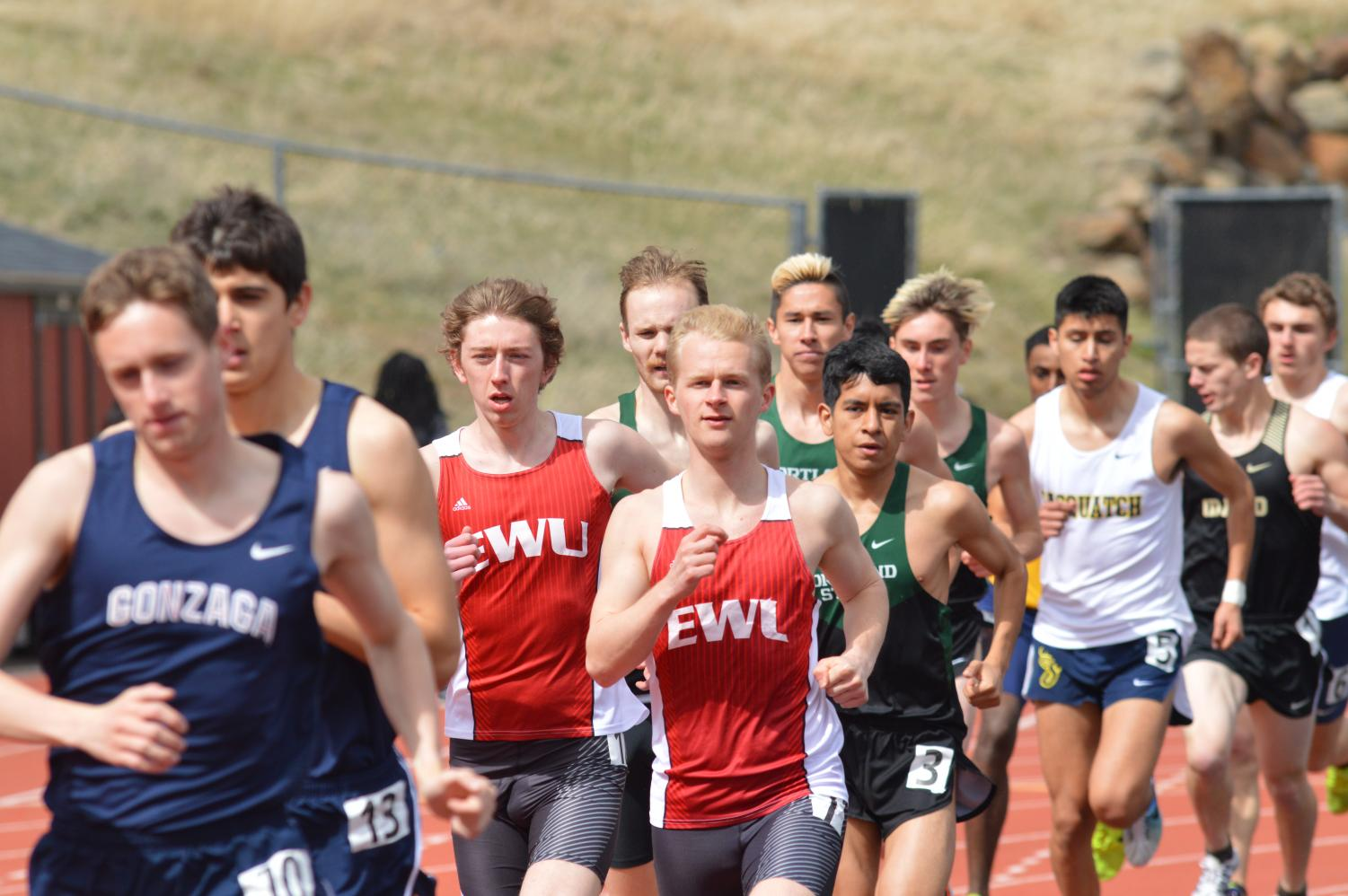 Freshman Jacob Christner (left) and senior Mason Nicol compete in the 1,500-meter at the Pelluer Invitational on April 14. Last weekend, the Eagles had seven first-place finishes at the OSU High Performance meet in Corvallis | Bailey Monteith for The Easterner