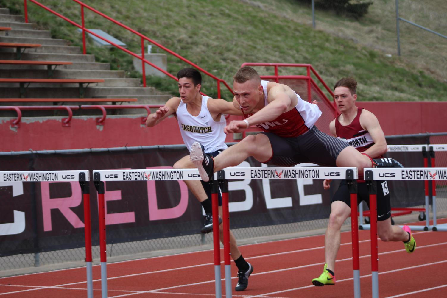 Junior Parker Bowden participates in the 110-meter hurdles at the Pelluer Invitational on April 14. Bowden enters the Big Sky Conference Outdoor Championships ranked tied for third in the event. | Mckenzie Ford for The Easterner