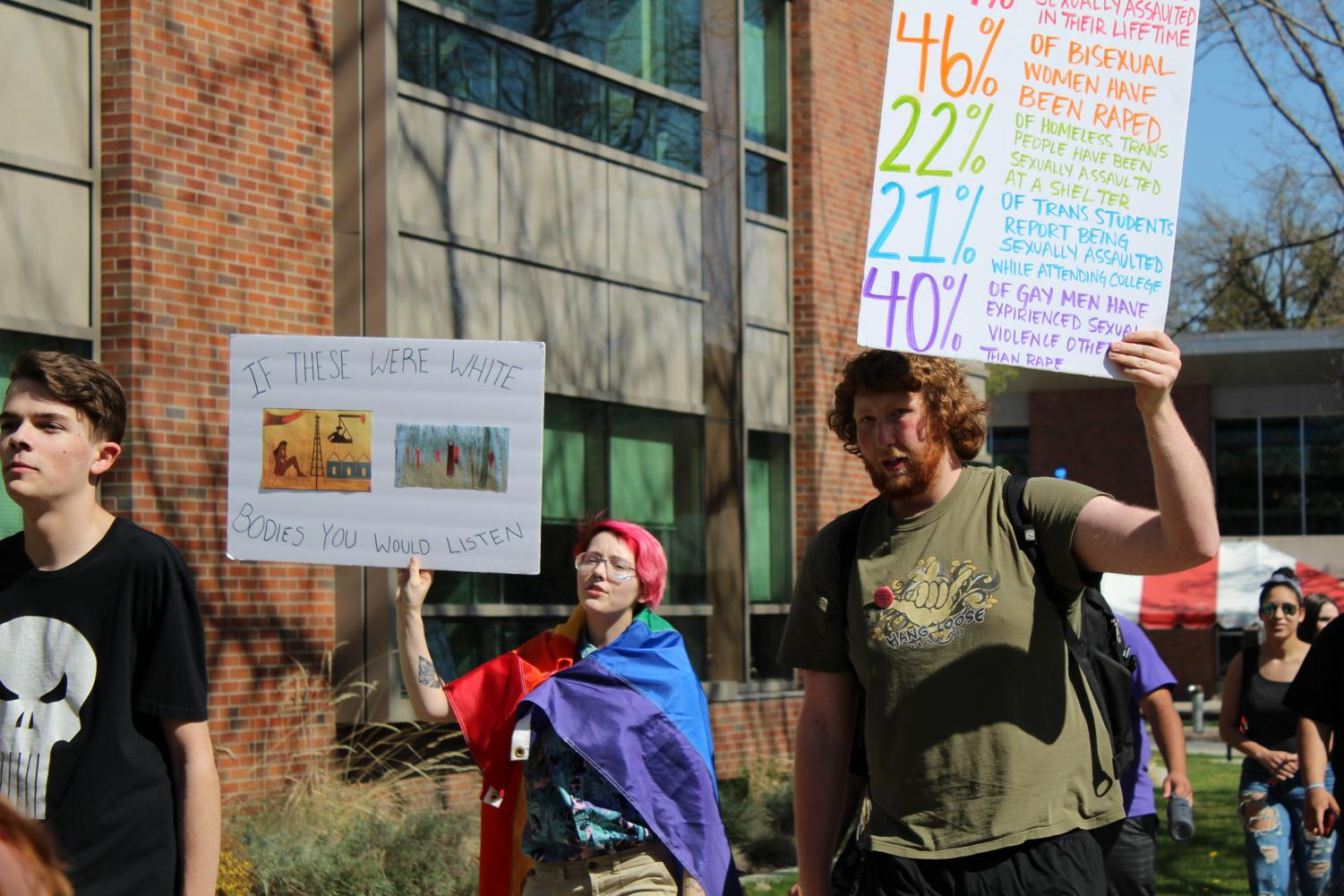 Students participate in EWU's second annual Slut Walk on April 27. The movement, which is against gender-based violence, started in Toronto in 2011 | Mckenzie Ford for The Easterner