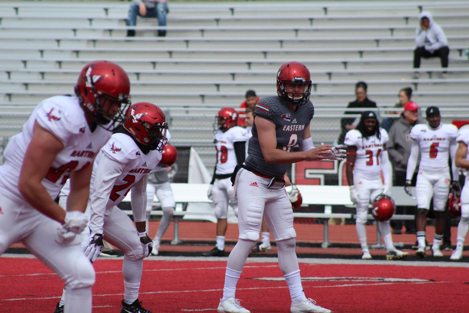 Senior quarterback Gage Gubrud waits to call for the ball at the Red-White game on April 28. Gubrud is entering his third season under center for the Eagles. | Mckenzie Ford for The Easterner