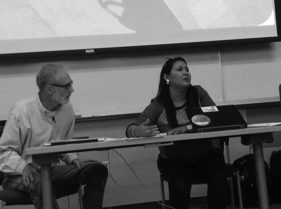 Dunia Aracely Perez, a feminist and human rights attorney spoke at EWU May 14. EWU alumni David Brookbank accompanied Perez and translated her presentation   Photo courtesy of Sarah Gutierrez