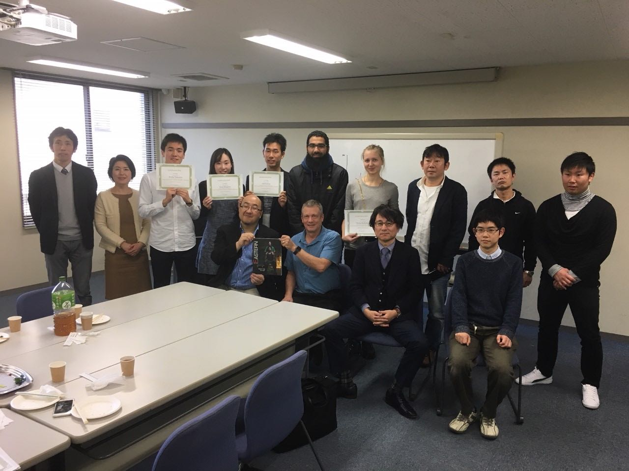 Atsushi Inoue and Dave Gorton with their class at Mie University. The students are participating in Eagle's Nest Business Pitch Competition and placed first in the second qualifying round | Photo contributed by Dave Gorton