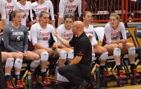 Michael King, former EWU head volleyball coach, addresses the team at a home match last season. King, along with assistant coach Nathan Fristed, was dismissed on March 27 following a university investigation | Bailey Monteith for The Easterner