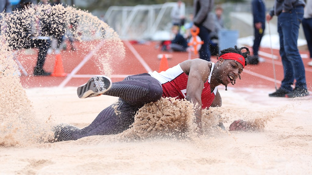 Sophomore Keshun McGee competes in the long jump at the Whitworth Buc Scoring Meet on March 17. At the Big Sky Championships on May 11, McGee won the long jump and placed second in the triple jump | Photo courtesy of EWU Athletics