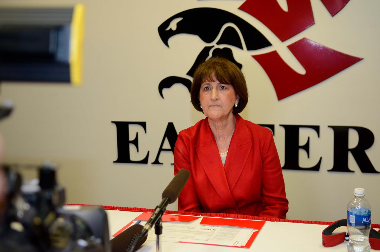 Athletic Director Lynn Hickey during her introductory press conference on April 25. Hickey is focused on pinpointing and solving problems in the athletic department at this point in her tenure | Photo courtesy of EWU