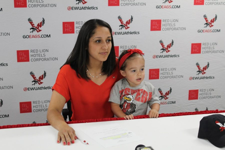 EWU+volleyball+head+coach+Leslie+Flores-Cloud+answers+questions+from+the+media+on+June+25.+%7C+Jeremy+Burnham+for+The+Easterner