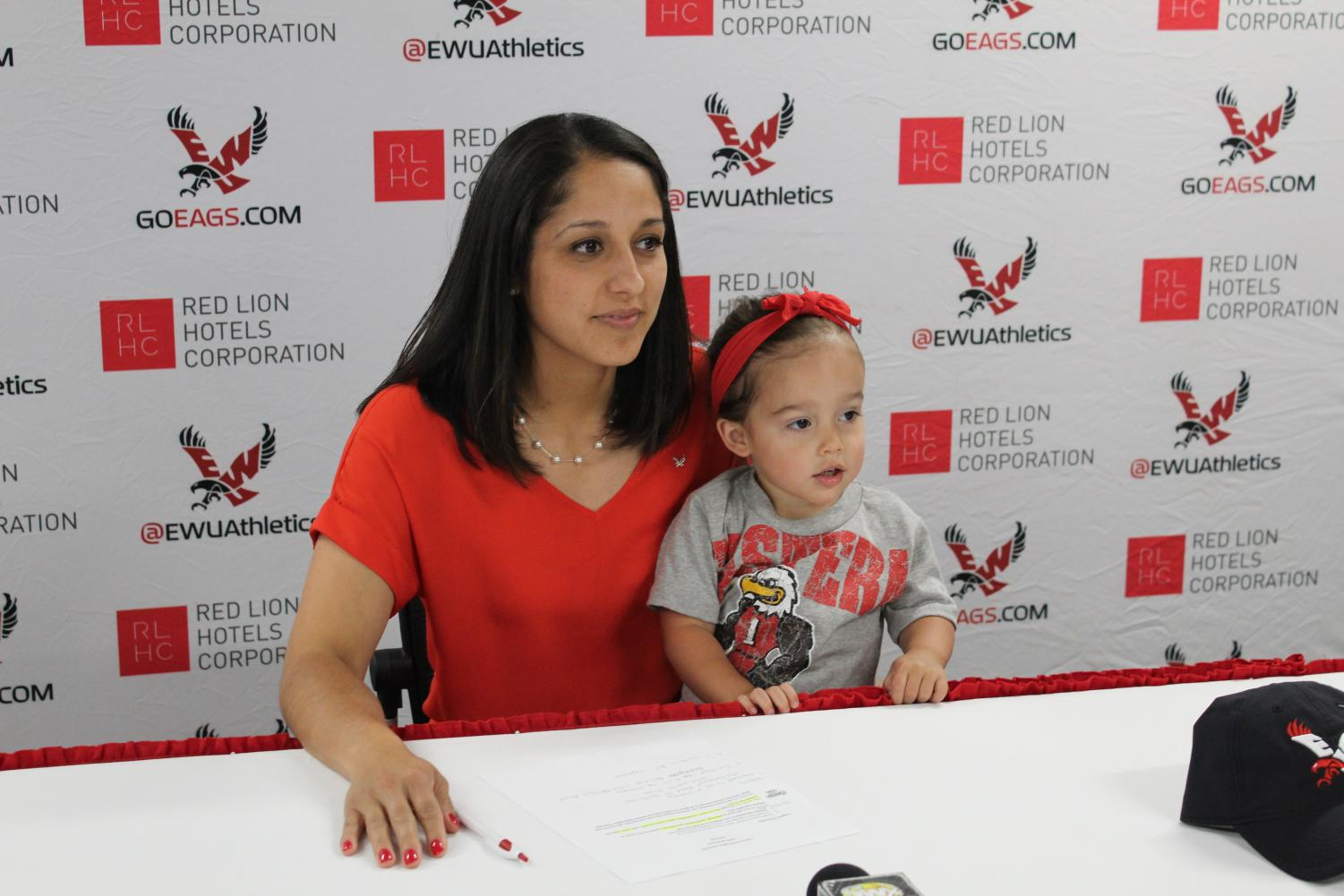 EWU volleyball head coach Leslie Flores-Cloud answers questions from the media on June 25. | Jeremy Burnham for The Easterner