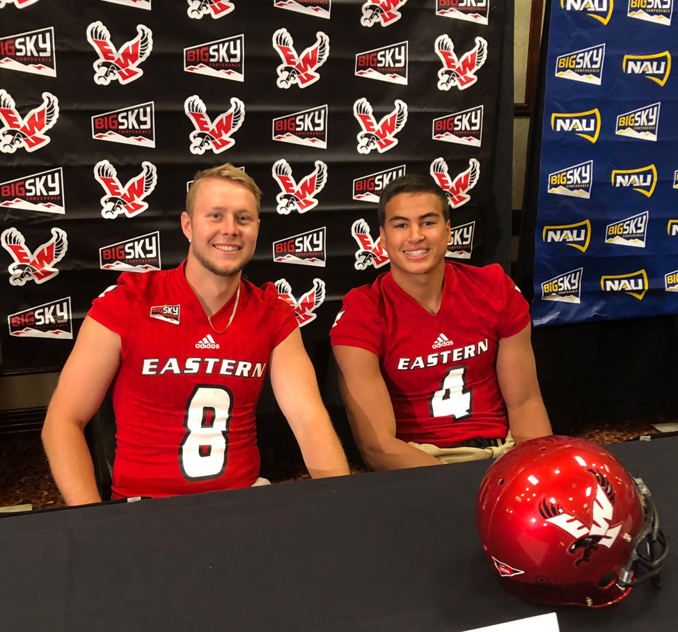 EWU quarterback Gage Gubrud and safety Mitch Fettig at the Big Sky Conference's summer meetings | Taylor Newquist for The Easterner