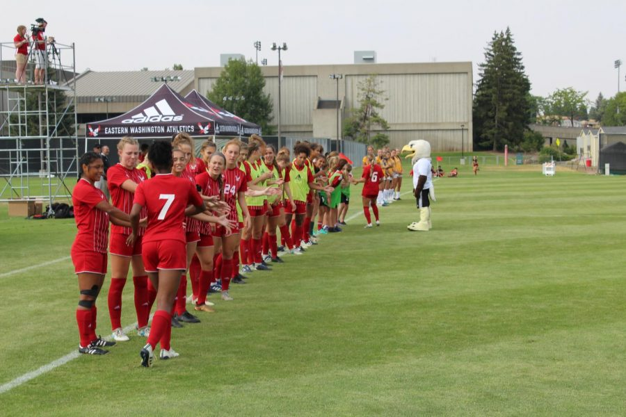 The EWU soccer team is introduced to the crowd before its season opener on August 17. The Eagles defeated CSU Bakersfield 1-0 in overtime | Jeremy Burnham for The Easterner