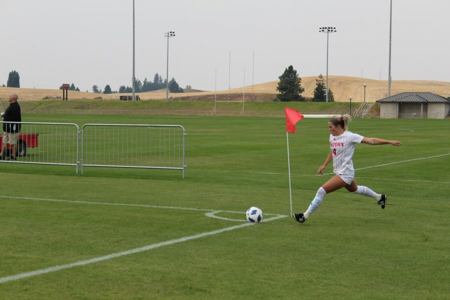 Senior forward Allison Raniere performs a corner kick in the first half of EWUs 2-1 victory over Grambling State on August 26. Raniere would later have the game winning goal | Jeremy Burnham for The Easterner.
