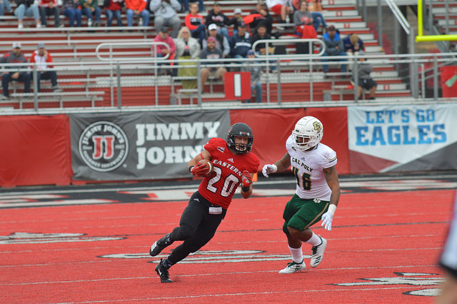 EWU RB Sam McPherson finds some room against Cal Poly on Sept. 22. McPherson  finished with 84 yards and two touchdowns | Bailey Monteith for The Easterner